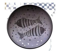 Kerámia fekete halas tál indián