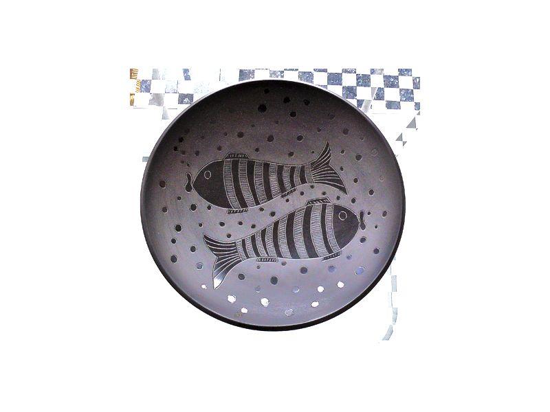 Kerámia fekete halas tál indián :