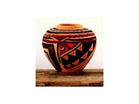 Terrakotta Azték mintás váza