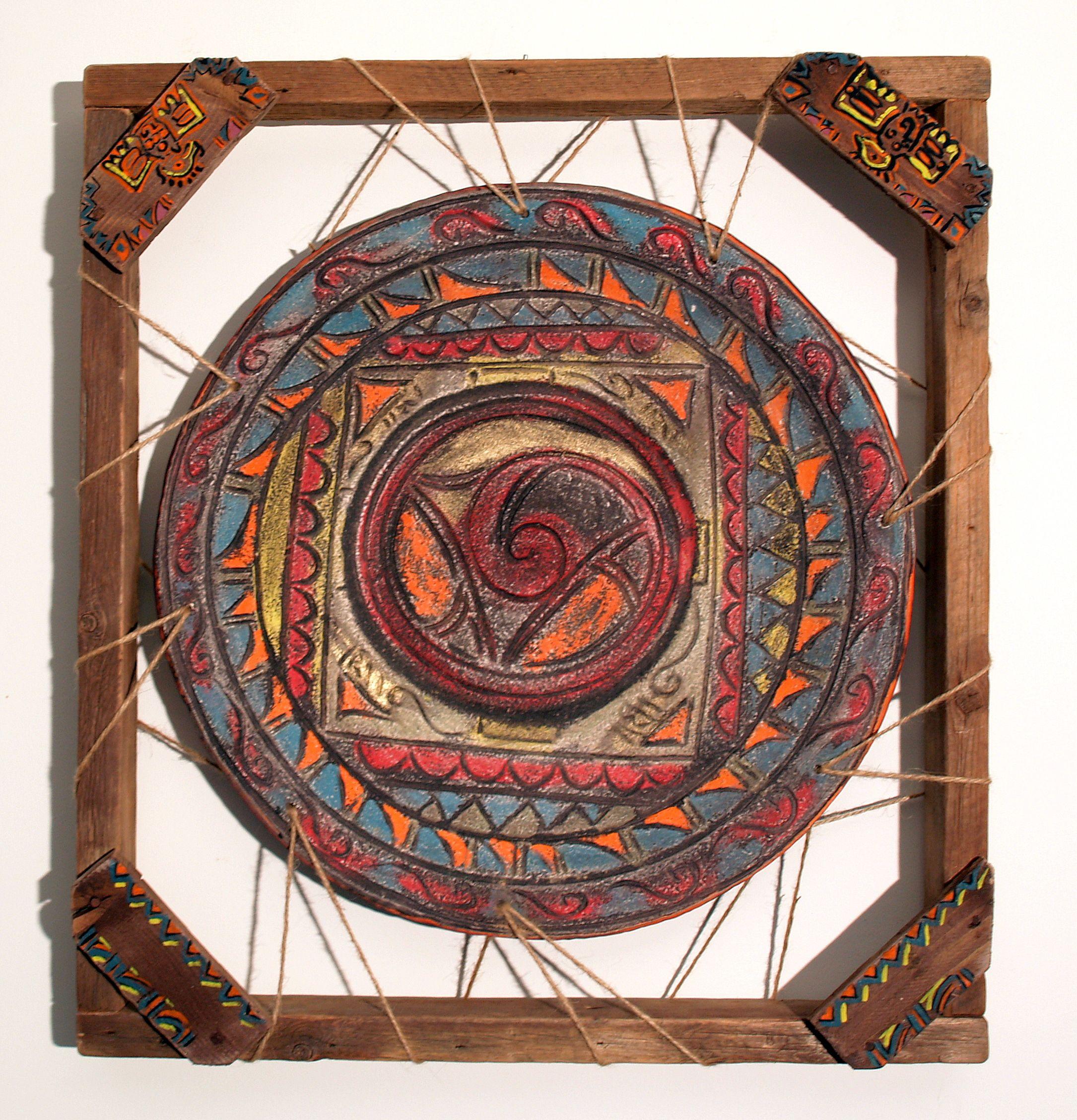 Indián tál fali kerettel : A gyöngyörűséges indián tálhoz a kor szellemében készítettem antik újrafelhasznált fa kerettel való installációt