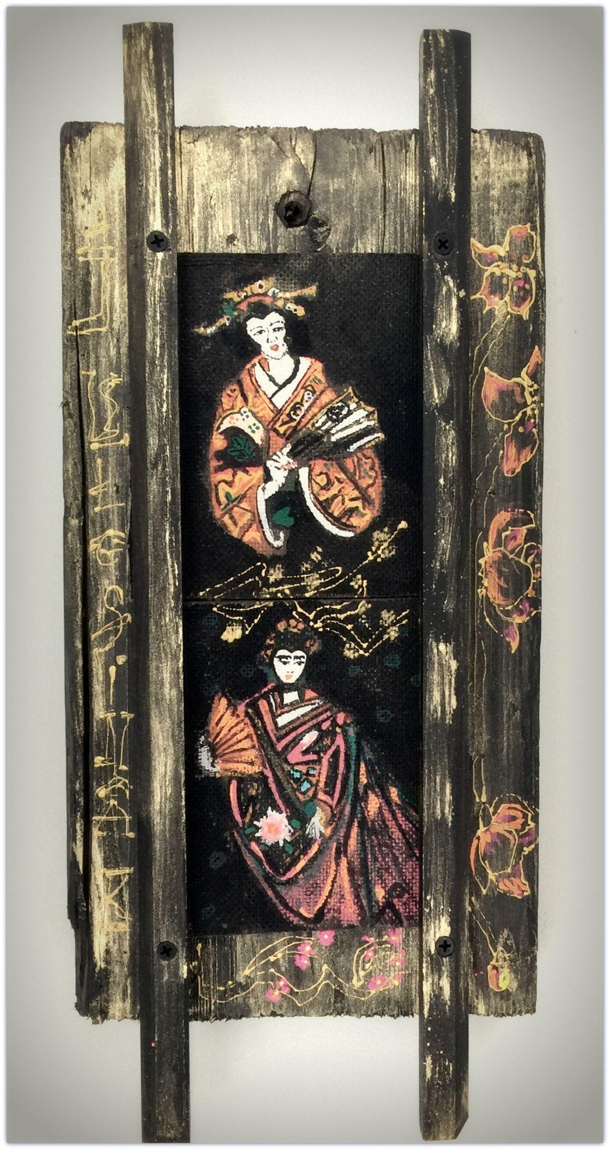 Arany kimonó : nyers antik 100 éves gerenda anyag a durva valóságával és a légies könnyed selyem kimonó arany szálai kollázs
